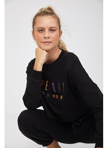 Reyon REYON Kadın Oversize Crop Sweatshirt Siyah Siyah